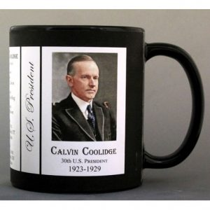 30th US President Calvin Coolidge history mug.