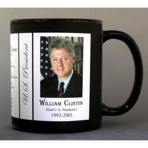 42nd US President William J. Clinton history mug.