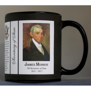 James Monroe US Secretary of State history mug.
