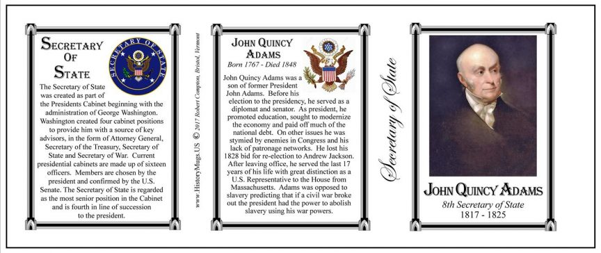 John Quincy Adams US Secretary of State history mug tri-panel.