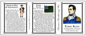 Ethan Allen Revolutionary War history mug tri-panel.