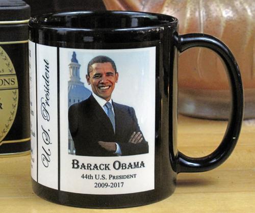 US President Barack Obama history mug.