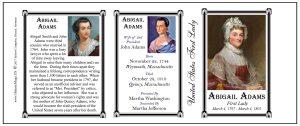 Abigail Adams US First Lady history mug tri-panel.
