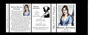Martha Wayles Jefferson wife of US President history mug tri-panel.