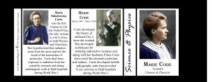 Marie Curie Science & Inventions history mug tri-panel.