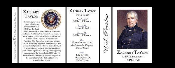 U.S. President Zachary Taylor history mug tri-panel.