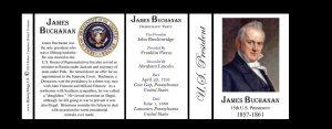 U.S. President James Buchanan history mug tri-panel.