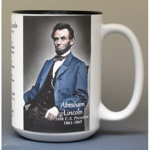 Abraham Lincoln, US President biographical history mug.