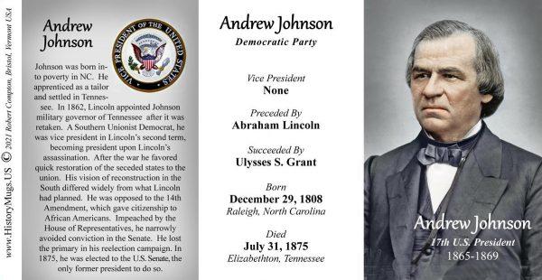 Andrew Johnson, US President biographical history mug tri-panel.