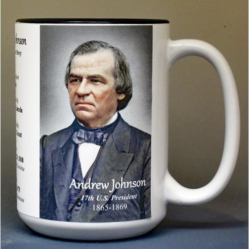 Andrew Johnson, US President biographical history mug.