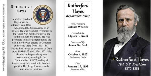 Rutherford B. Hayes, US President biographical history mug tri-panel.