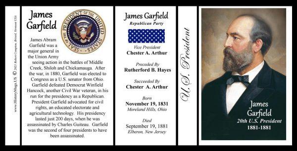 James Garfield, 20th US President biographical history mug tri-panel.