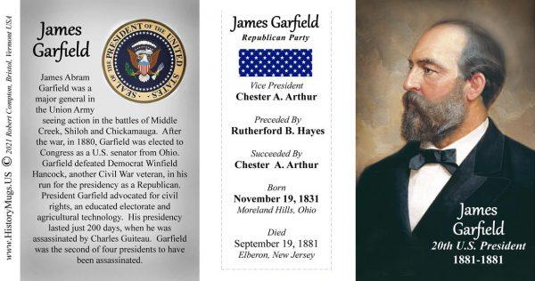 James Garfield, US President biographical history mug tri-panel.