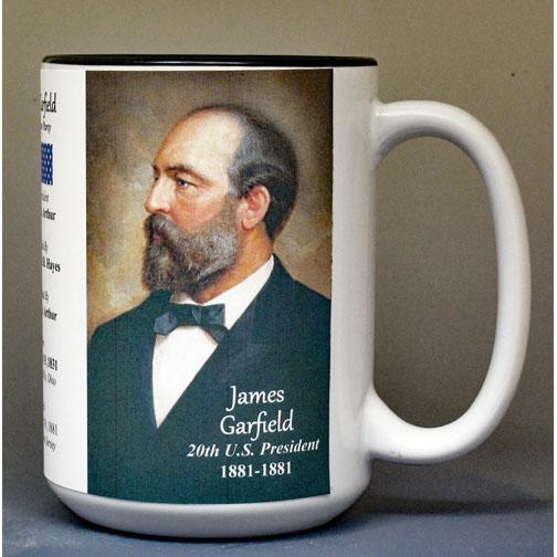 James Garfield, US President biographical history mug.