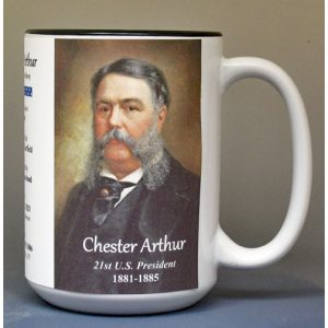 Chester A. Arthur, US President biographical history mug.