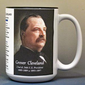 Grover Cleveland, US President biographical history mug.