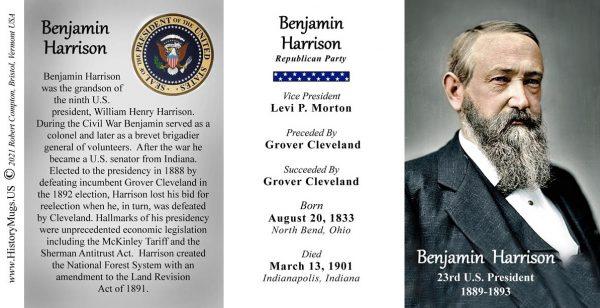 Benjamin Harrison, US President biographical history mug tri-panel.