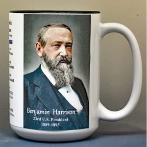 Benjamin Harrison, US President biographical history mug.
