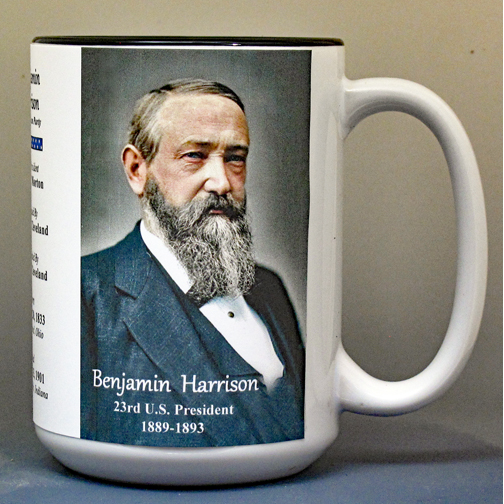 Benjamin Harrison, US President biographical history mug.
