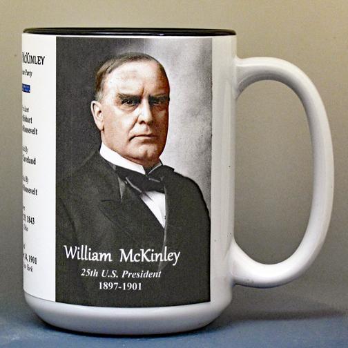 William McKinley, US President biographical history mug.