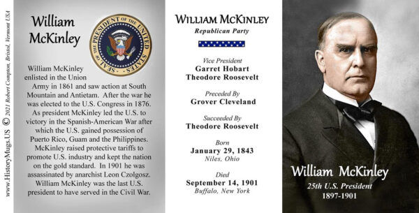 William McKinley, US President biographical history mug tri-panel.