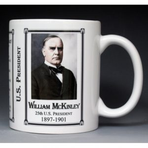 25th US President William McKinley history mug.