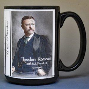 26th US President, Theodore Roosevelt, biographical history mug.
