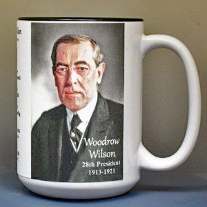 Woodrow Wilson, US President biographical history mug.