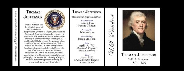 U.S. President Thomas Jefferson history mug tri-panel.