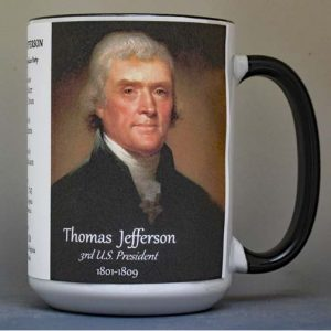 Thomas Jefferson US President biographical history mug.