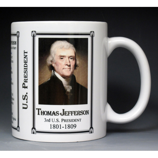3rd US President Thomas Jefferson biographical history mug.