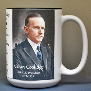 Calvin Coolidge, US President biographical history mug.
