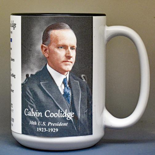 Calvin Coolidge, US President biographical history mug.