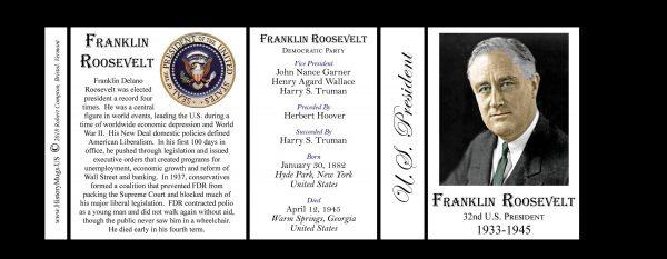 32nd US President Franklin D. Roosevelt history mug tri-panel.