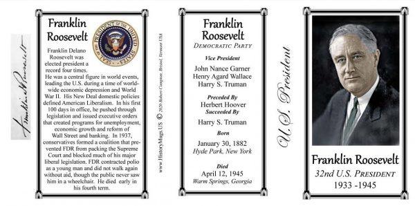 Franklin Roosevelt, US President biographical history mug tri-panel.