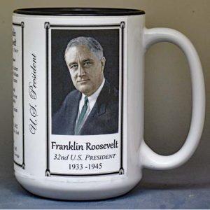 Franklin Roosevelt, US President biographical history mug.