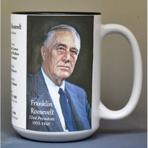 Franklin Roosevelt, US President biographical history mug.