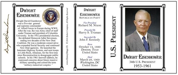 34th US President Dwight Eisenhower biographical history mug tri-panel.