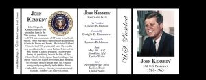 35th US President John F. Kennedy history mug  tri-panel.