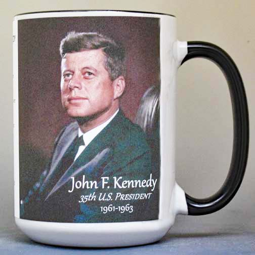 35th US President John F. Kennedy biographical history mug.