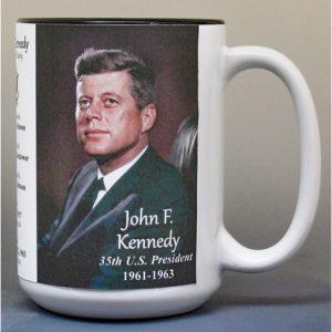 John F. Kennedy, US President biographical history mug.