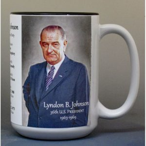 Lyndon B. Johnson, US President biographical history mug.