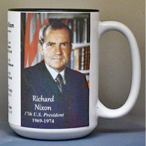 Richard Nixon, US President biographical history mug.