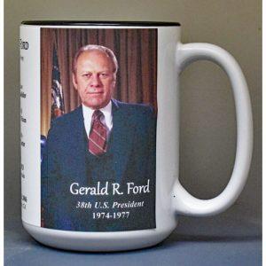 Gerald R. Ford, US President biographical history mug.