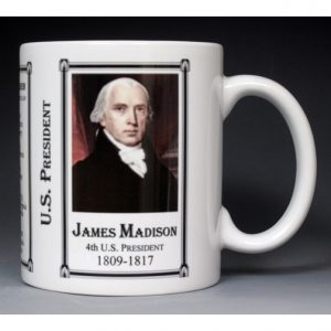 4th US President James Madison history mug.
