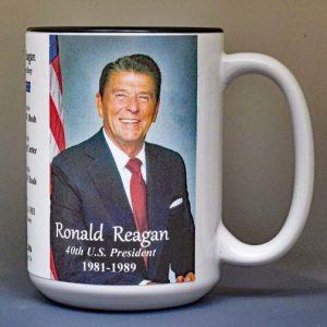 Ronald Reagan, US President biographical history mug.
