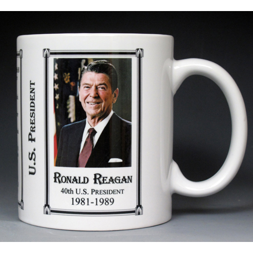 40th US President Ronald Reagan history mug.