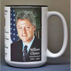 Bill Clinton, US President biographical history mug.