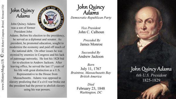 John Quincy Adams, US President biographical history mug tri-panel.