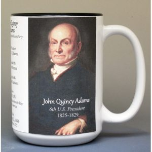 John Quincy Adams, US President biographical history mug.
